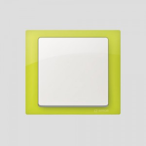 simon-basic-neos_ramka-limonkowy_klawisz-bialy